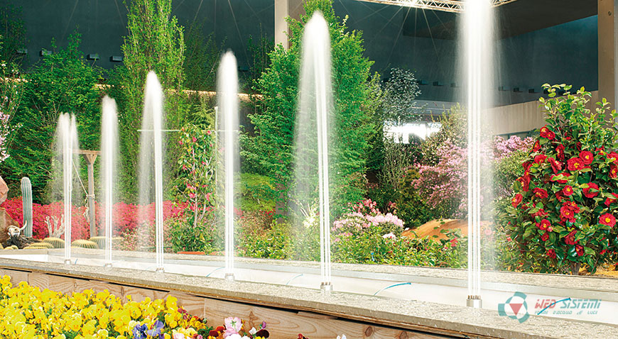 Dynamic fountain with columnar nozzles, Euroflora. Italy